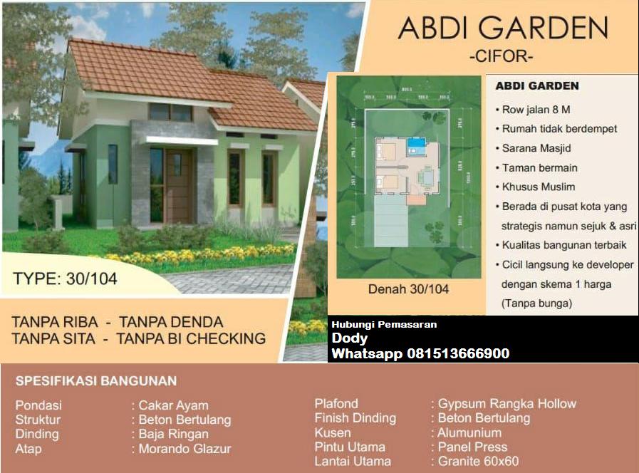 Rumah di Kota Bogor Kawasan Situ Gede Cifor type 30 90
