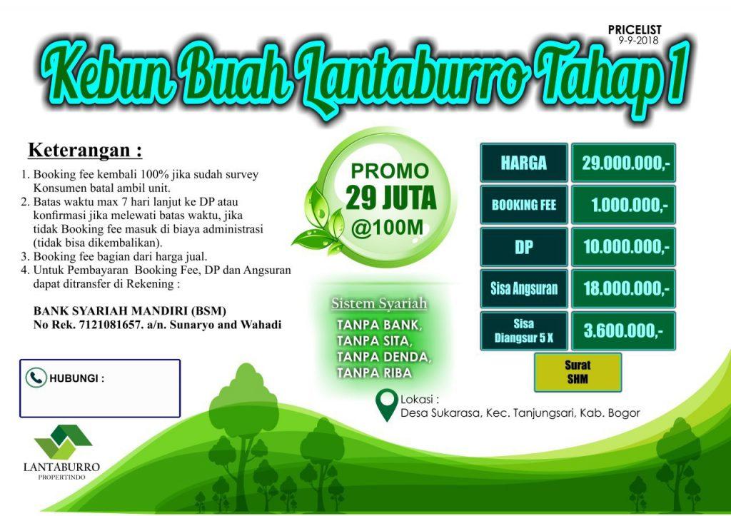 Kavling Lantaburro Tanah Murah di Bogor Untuk Kebun Durian